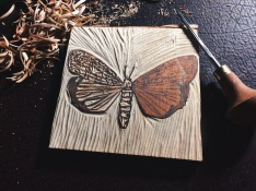 1st step-draw image on prepped birch wood. Carve