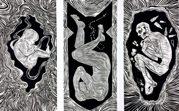 """""""Welcome my son, welcome to the machine"""", 3 panels measuring 12x24"""" each, 2016"""