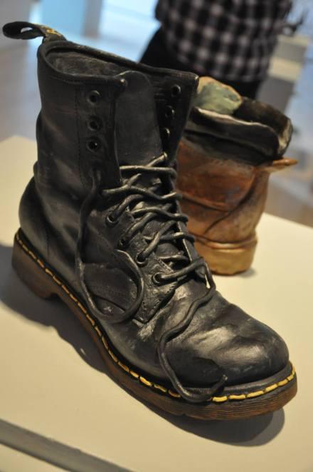 """""""Subculture staple"""", Ceramic shoe replica, 10""""x3""""x7"""", 2015"""