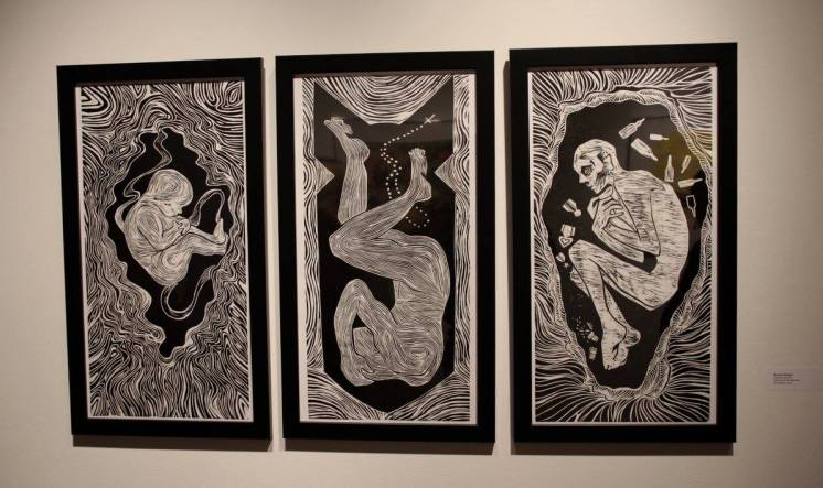 """""""Welcome my son, welcome to the machine"""", -Jurors award woodblock print 24x 36"""""""