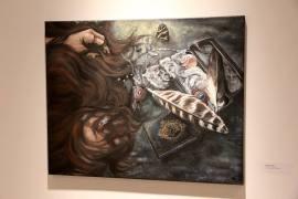 """Cultural Bereavement"" mixed media painting, human hair"