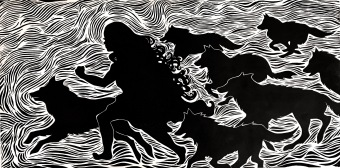 """""""The girl who ran with wolves"""", Woodblock Print, 12x24"""""""