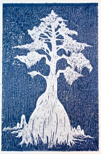 """The Cypress"", Woodblock Print on Banana Paper, 24x36"", 2018"