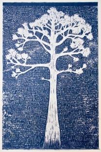 """The Slash Pine"", Woodblock Print on Banana Paper, 24x36"", 2018"