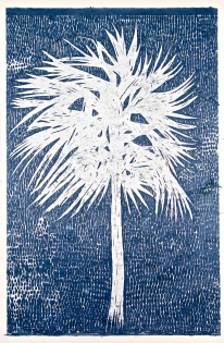 """""""The Thatch"""", Woodblock Print on Banana Paper, 24x36"""", 2018"""
