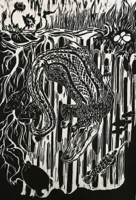 """""""In The Alligator Hole"""", Woodblock print, 8x12"""""""