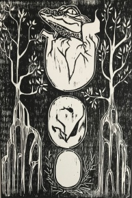 """Symbiosis"" Woodblock print, 8x12"", 2017"