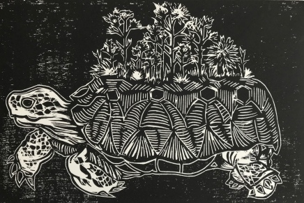 """""""Keeper of the Pinelands"""" Woodblock print, 8x12"""", 2017"""